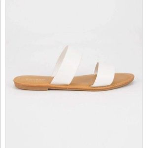 BAMBOO Double Strap White Womens Sandals